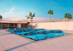 Twelve Porsche Carrera RS's In A Pool
